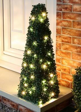 Two 75cm outdoor boxwood Christmas trees at Festive Lights